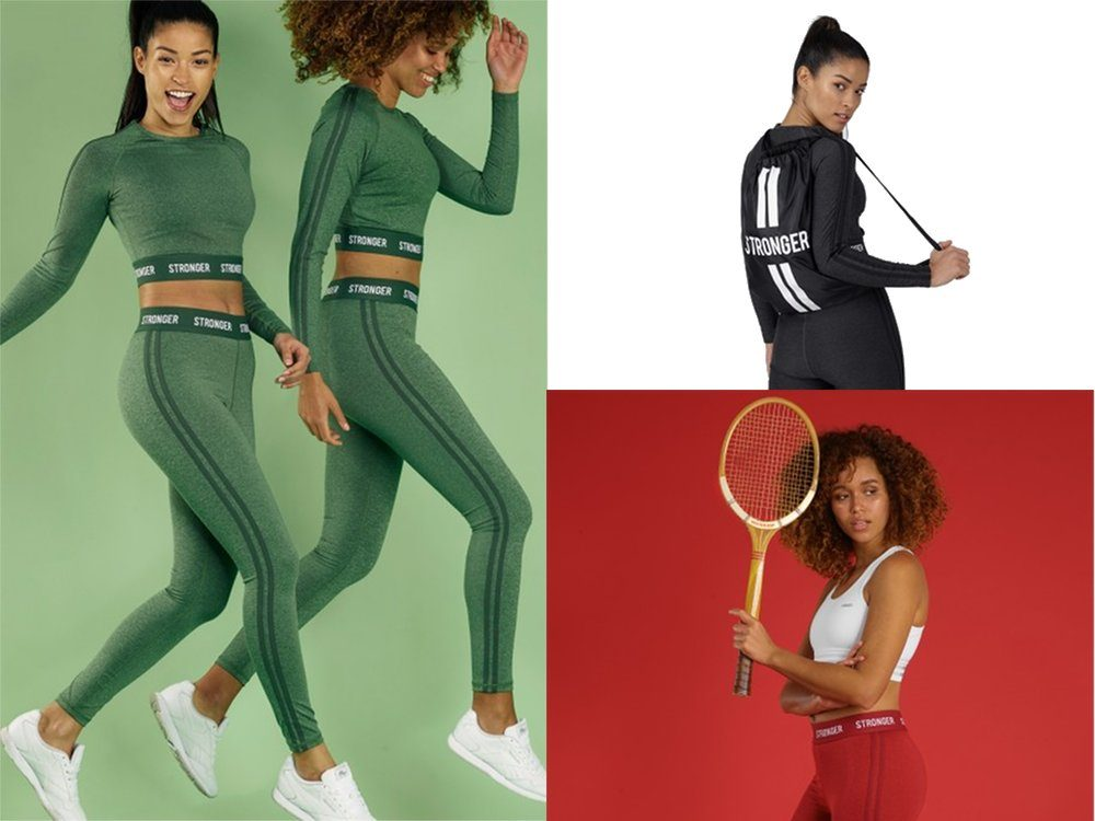 Stronger throwback collection tights top gympapåse sportbh